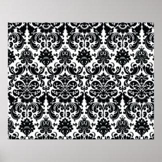 Elegant Black White Vintage Damask Pattern Print