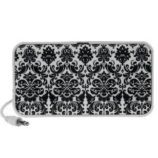 Elegant Black White Vintage Damask Pattern PC Speakers