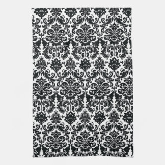 Elegant Black White Vintage Damask Pattern Tea Towel