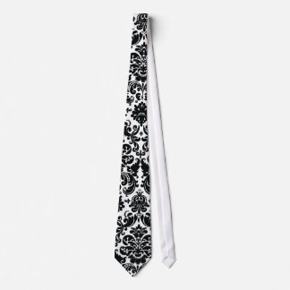 Elegant Black White Vintage Damask Pattern Tie