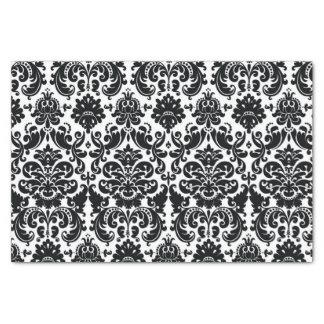 Elegant Black White Vintage Damask Pattern Tissue Paper