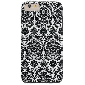 Elegant Black White Vintage Damask Pattern Tough iPhone 6 Plus Case
