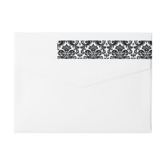 Elegant Black White Vintage Damask Pattern Wrap Around Label
