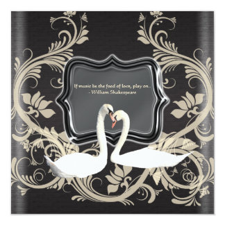 Elegant black white vintage engagement card