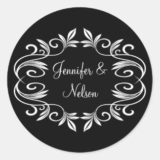 Elegant Black & White Wedding Envelope Seal Round Sticker