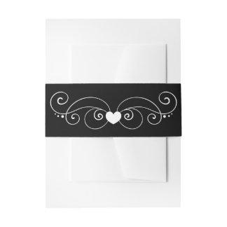 Elegant Black & White Wedding Swirly Heart Invitation Belly Band