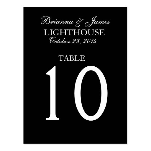 Elegant Black & White Wedding Table Number Post Card