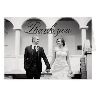 Elegant Black & White Wedding Thank You Card