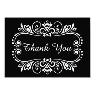 Elegant Black & White Wedding Thank You Note Card 9 Cm X 13 Cm Invitation Card