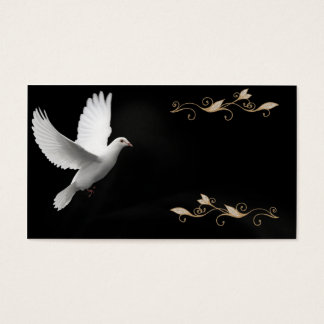 Elegant Black With White Dove- Business Card