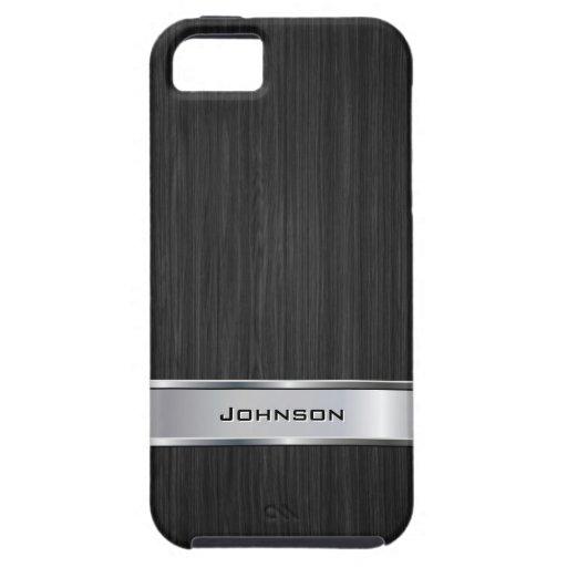 Elegant Black Wood with Silver Metal Label | iPhone 5 Case