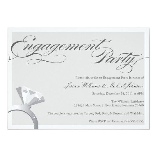 Elegant Bling Engagement Party Card