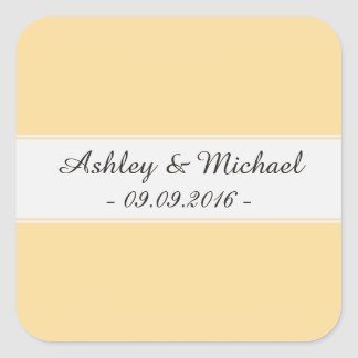 Elegant Blonde Yellow Save the Date Square Sticker