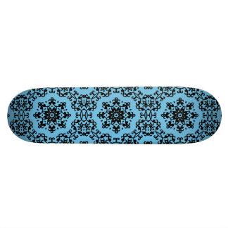 Elegant blue and black damask skate board decks