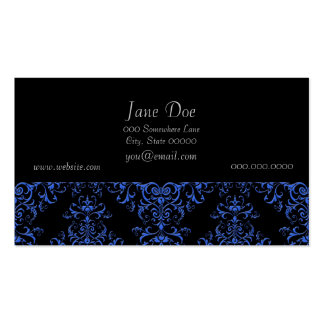 Elegant Blue and Black Damask Style Pattern Business Card Templates