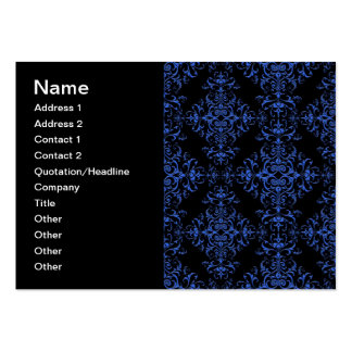 Elegant Blue and Black Damask Style Pattern Business Cards