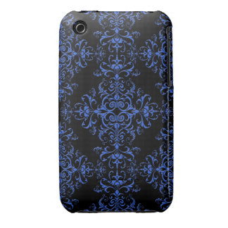 Elegant Blue and Black Damask Style Pattern iPhone 3 Covers