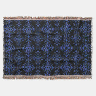 Elegant Blue and Black Damask Style Pattern Throw Blanket