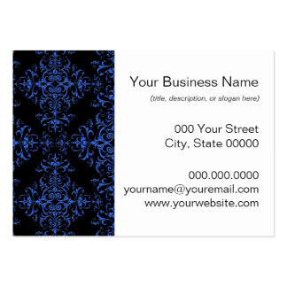 Elegant Blue and Black Floral Damask Style Pattern Business Card Templates