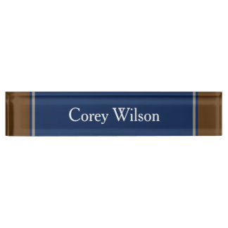 Elegant Blue and Brown Nameplate For Your Office