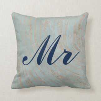 Elegant Blue and Copper Marble design Mr and Mrs Cushion