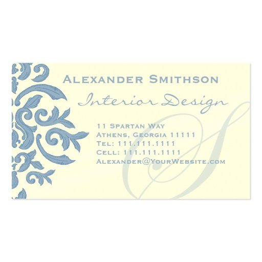 S letter alphabet business card pink zazzle japanese letters elegant blue and cream damask letter s business card reheart Choice Image