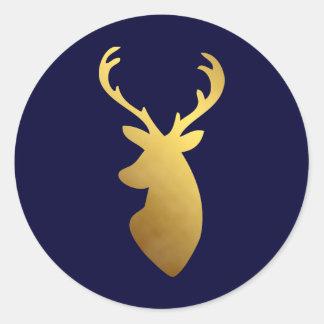 Elegant Blue and Faux Gold Foil Deer Head Round Sticker
