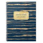 Elegant Blue and Faux Gold Foil Notebook