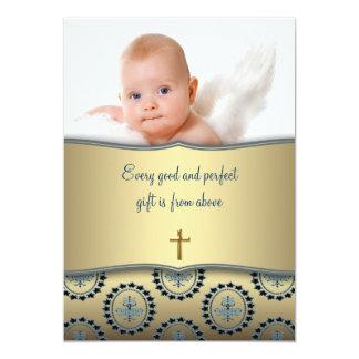 Elegant Blue and Gold Baby Boy Photo Christening 13 Cm X 18 Cm Invitation Card