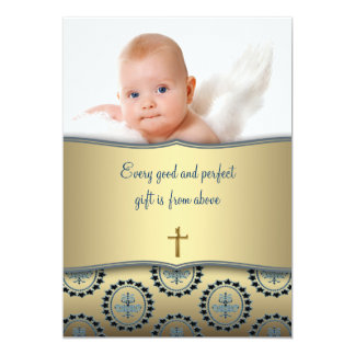 Elegant Blue and Gold Baby Boy Photo Christening Card