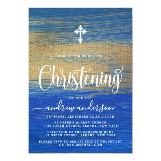 Elegant Blue And Gold Boy Christening Invitation