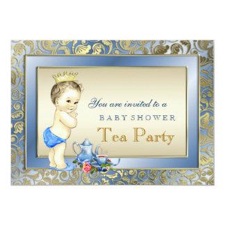 Elegant Blue and Gold Boys Tea Party Baby Shower 13 Cm X 18 Cm Invitation Card