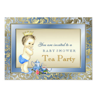 Elegant Blue and Gold Boys Tea Party Baby Shower Card