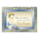 Elegant Blue and Gold Boys Tea Party Baby Shower Invite