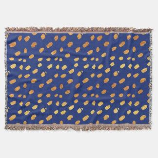 Elegant Blue and Gold Confetti Throw Blanket