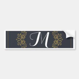 Elegant Blue and Gold Monogram | Enter your own Bumper Sticker