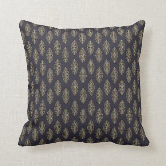 Elegant Blue and Gold Patterned Cushion