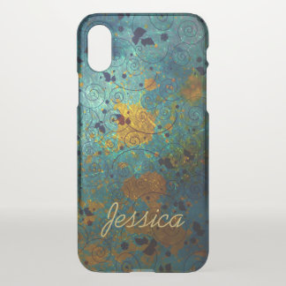 Elegant Blue and Gold Vine iPhone X Case