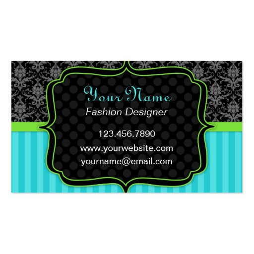 Elegant Blue and Green, Black Damask Business Card Business Card Template
