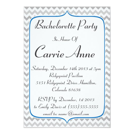 Elegant Blue and Grey Chevron Bachelorette Party Card