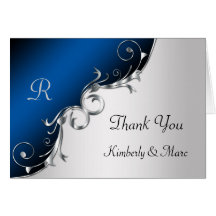 Elegant Blue and Silver Swirls Thank You Cards