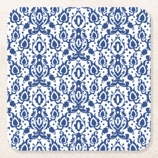 Elegant Blue and White Moroccan Style Damask Square