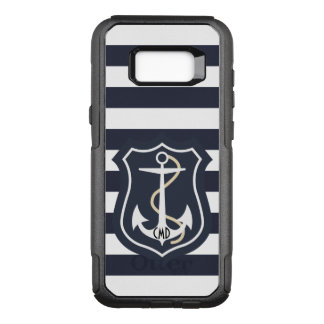 Elegant Blue And White Stripes With Anchor OtterBox Commuter Samsung Galaxy S8+ Case