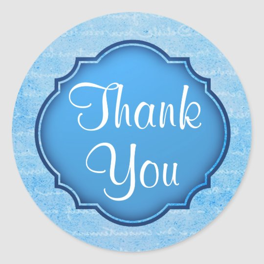Elegant Blue and White Thank You Sticker