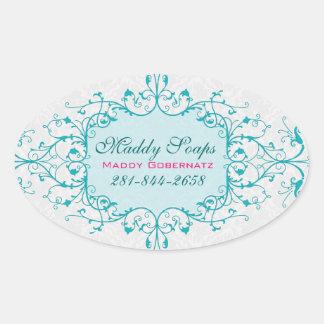 Elegant Blue And White Vintage Lace Frame Oval Sticker
