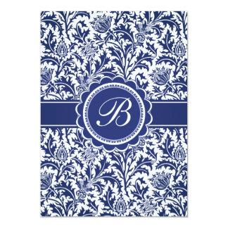 Elegant Blue and White William Morris Floral 13 Cm X 18 Cm Invitation Card