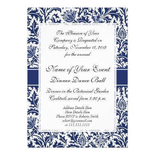 Elegant Blue and White William Morris Floral Personalized Invitations