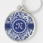 Elegant Blue and White William Morris Floral Keychain