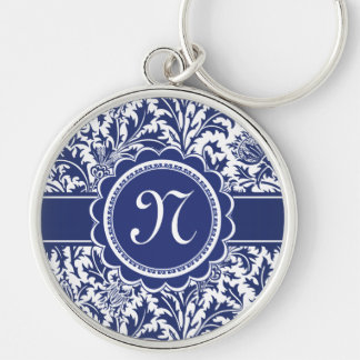 Elegant Blue and White William Morris Floral Silver-Colored Round Key Ring
