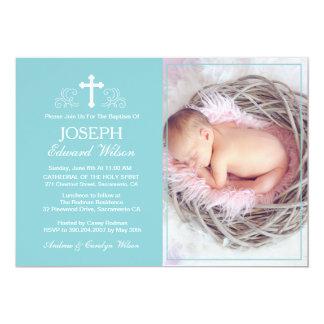 Elegant Blue Baptism Photo Invitation Card